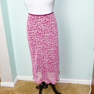 Gorgeous Pink Floral Print Lined Skirt